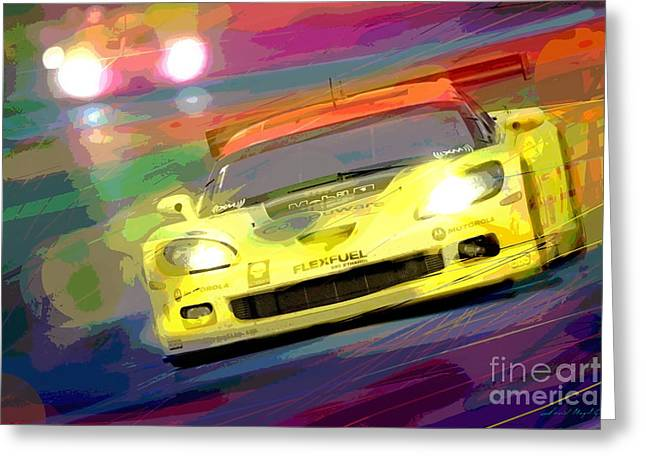 Corvette Thunders At Le Mans Greeting Card