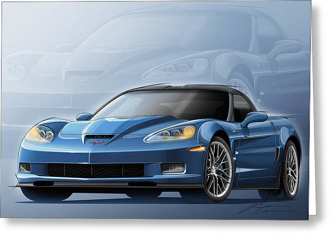 Corvette Zr1 Illustration Greeting Card by Etienne Carignan