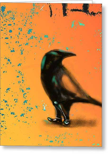 Corvus Looking Back Greeting Card by Marcello Cicchini