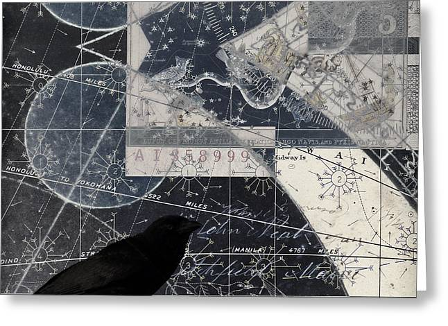 Corvus Star Chart Greeting Card by Carol Leigh