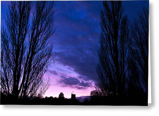 Cosgrove Sunset With Moon Greeting Card