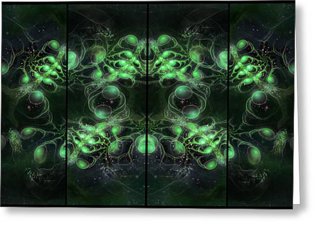 Cosmic Alien Eyes Green Greeting Card