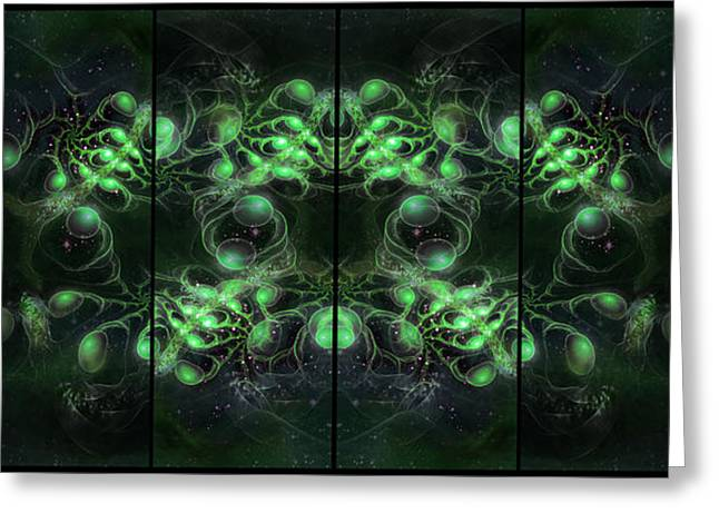 Cosmic Alien Eyes Green Greeting Card