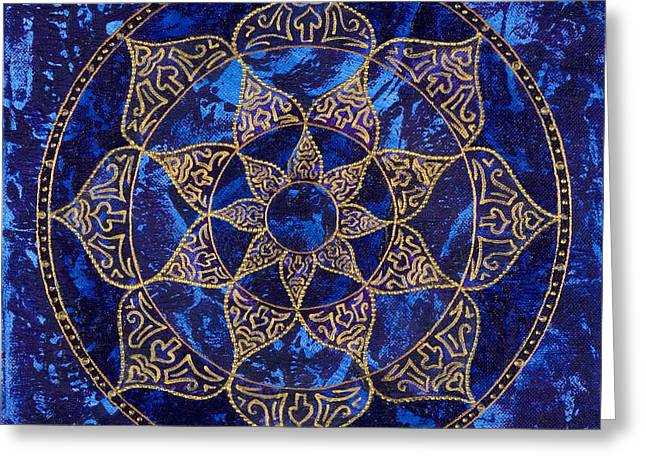 Cosmic Blue Lotus Greeting Card by Charlotte Backman