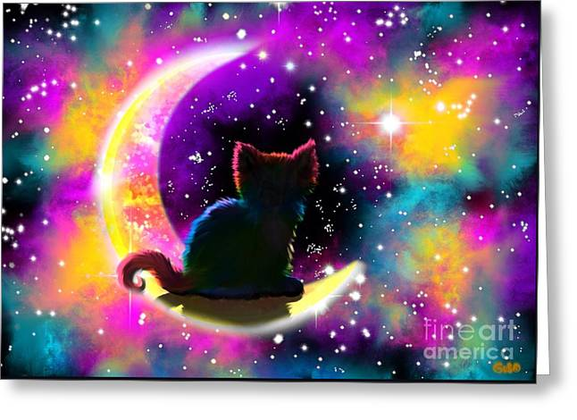 Cosmic Cat Greeting Card by Nick Gustafson