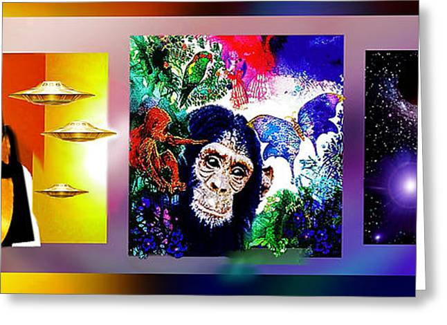 Greeting Card featuring the mixed media Cosmic Citizen by Hartmut Jager