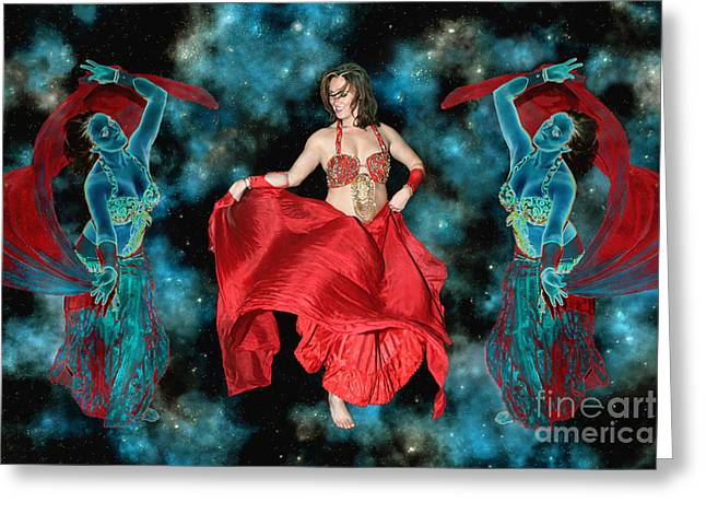 Cosmic Dance Greeting Card by Ursula Freer