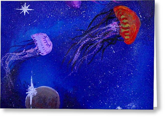 Cosmic Jellyfish  Greeting Card by Andy Lawless