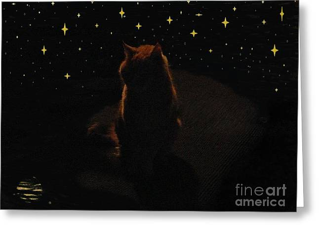 Cosmic Kitty Greeting Card by Jacquelyn Roberts