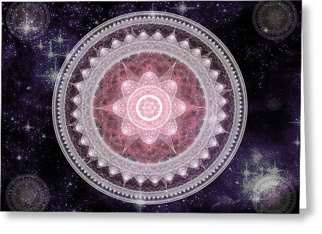 Cosmic Medallions Fire Greeting Card
