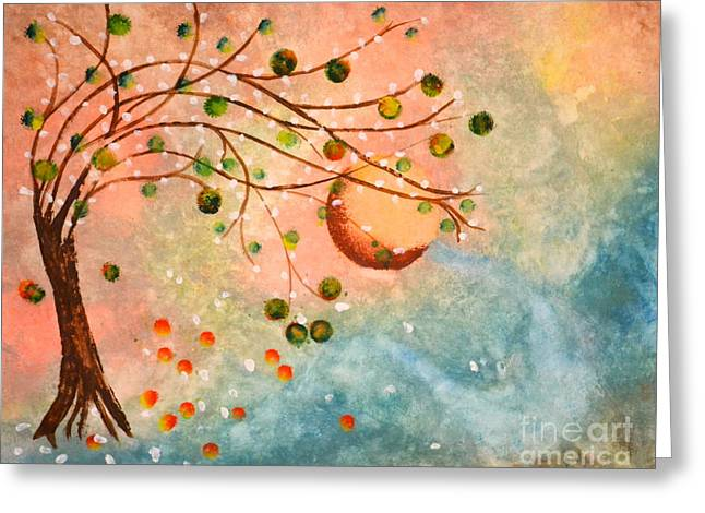 Greeting Card featuring the painting Cosmic Orb Tree by Denise Tomasura