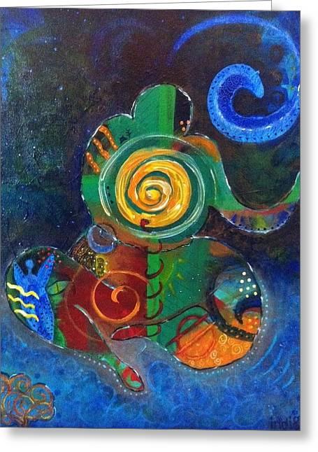 Cosmic Presence Greeting Card by Indigo Carlton