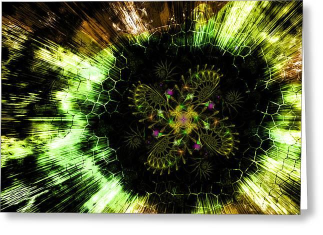Cosmic Solar Flower Fern Flare Greeting Card