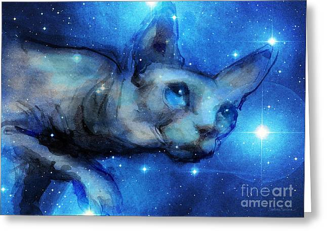 Cosmic Sphynx Cat  Greeting Card by Svetlana Novikova