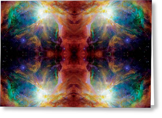 Cosmic Spine Deep Space Reflection Greeting Card by Jennifer Rondinelli Reilly - Fine Art Photography