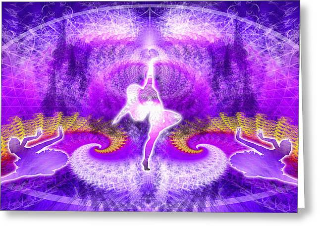 Cosmic Spiral Ascension 27 Greeting Card by Derek Gedney