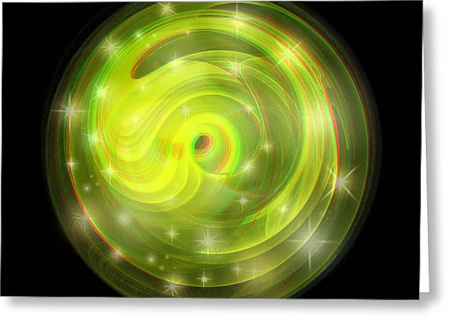 Cosmic Swirl - Use Red-cyan Filtered 3d Glasses Greeting Card by Brian Wallace