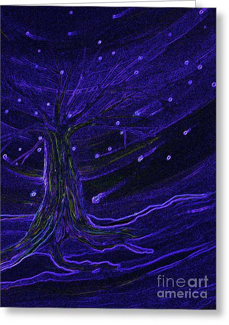 Cosmic Tree Blue Greeting Card by First Star Art