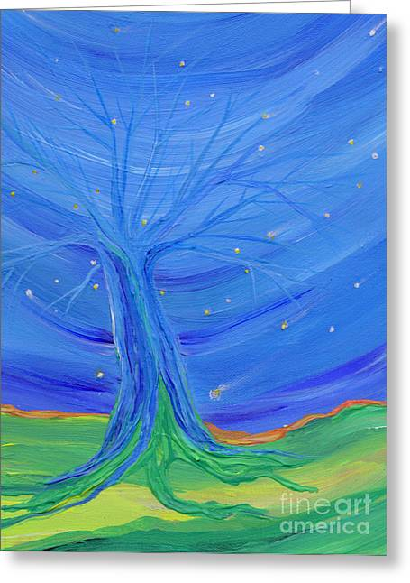 Greeting Card featuring the painting Cosmic Tree by First Star Art