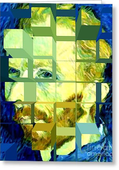 Cosmic Van Gogh Portrait Greeting Card by Jerome Stumphauzer