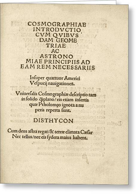 'cosmographiae Introductio' (1507) Greeting Card by Library Of Congress
