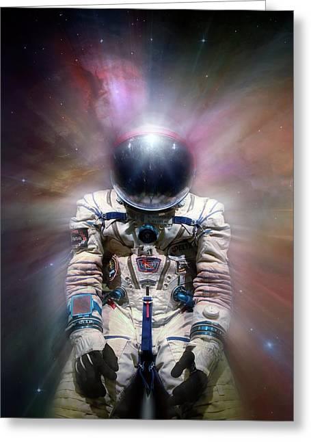 Cosmonaut In Space Greeting Card by Detlev Van Ravenswaay
