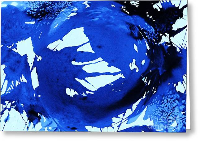 Cosmos In Blue Abstract Greeting Card by Ellen Levinson