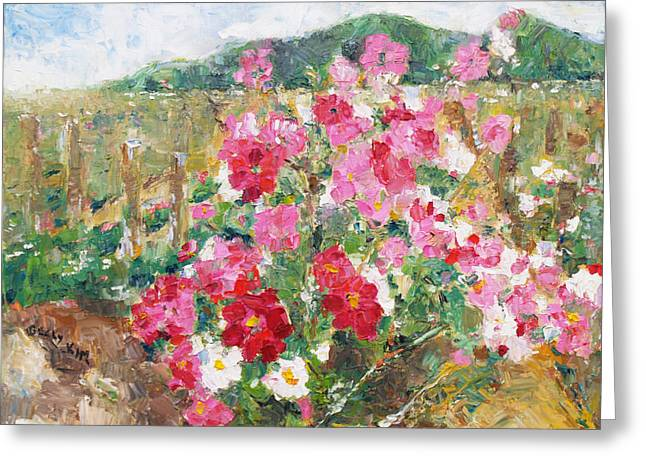 Cosmos In The Field Greeting Card by Becky Kim
