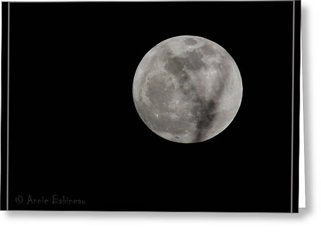 Cosmos Moon Greeting Card by Anne Babineau