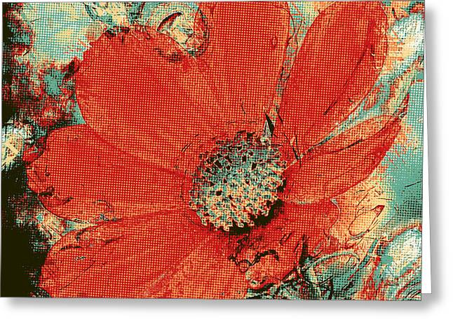 Cosmos Flower Colorized Halftone Greeting Card
