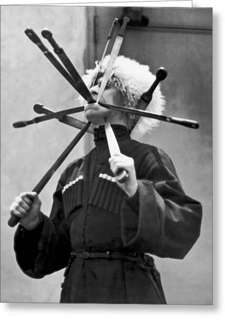 Cossack Sword Performer Greeting Card