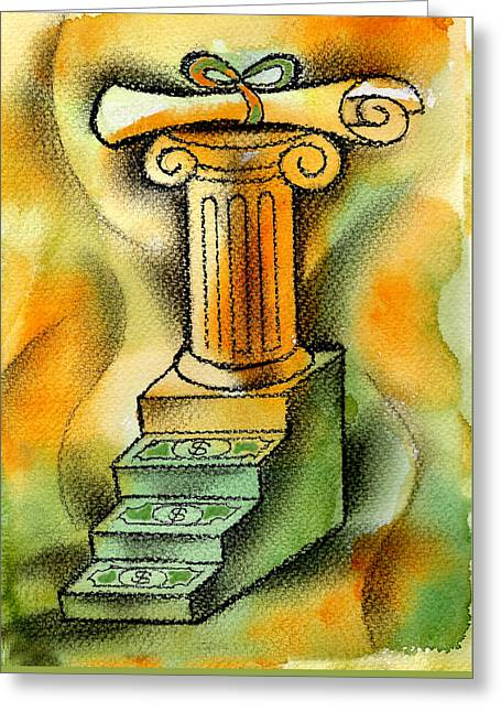 Cost Of Education Greeting Card by Leon Zernitsky