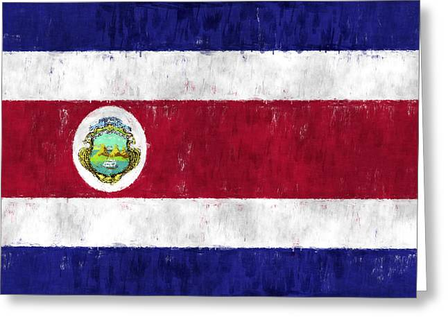 Costa Rica Flag Greeting Card by World Art Prints And Designs