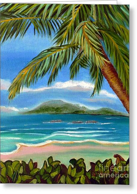 Greeting Card featuring the painting Costa Rica Highs   Costa Rica Seascape Mountains And Palm Trees by Shelia Kempf