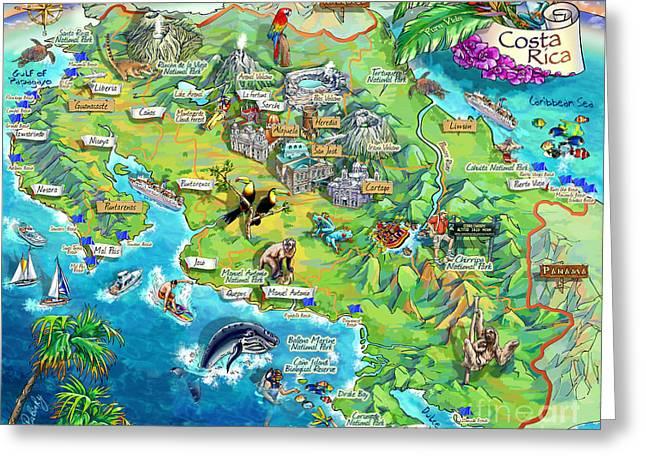 Costa Rica Map Greeting Cards Fine Art America