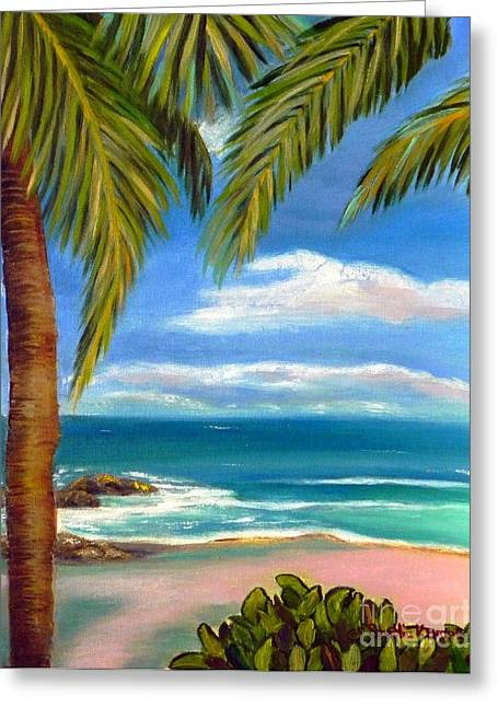 Greeting Card featuring the painting Costa Rica Rocks   Costa Rica Seascape  by Shelia Kempf