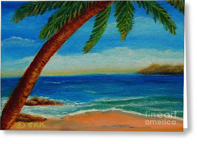 Greeting Card featuring the painting Costa Rican Palm by Shelia Kempf