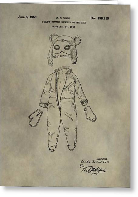 Costume And Mask Patent Greeting Card