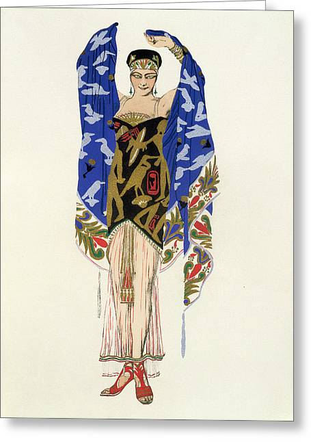 Costume Design For A Dancing Girl Greeting Card by Leon Bakst
