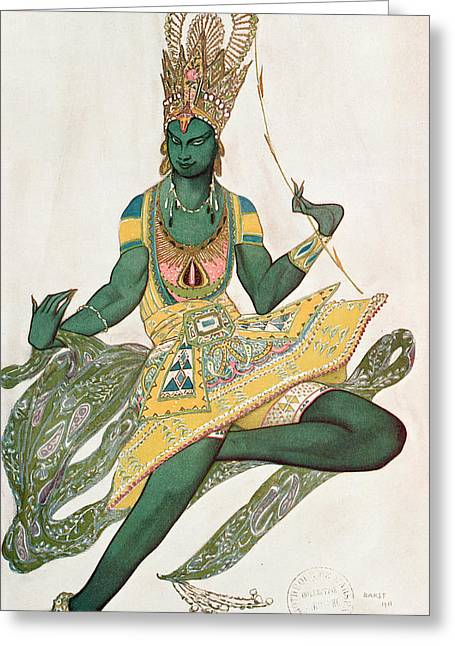 Costume Design For Nijinsky 1889-1950 For His Role As The Blue God, 1911 Wc On Paper Greeting Card by Leon Bakst