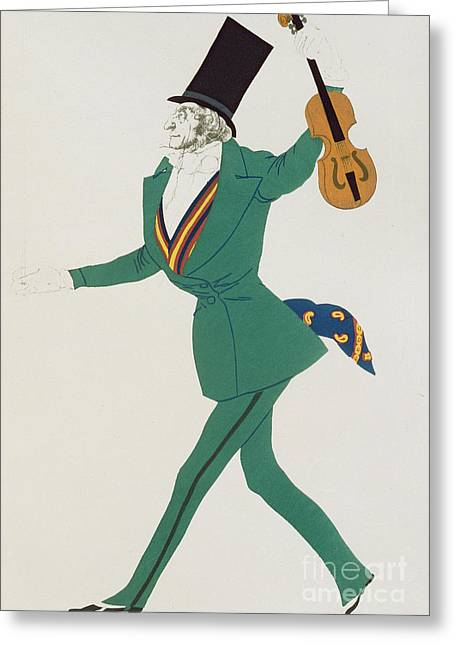 Costume Design For Paganini In The Enchanted Night Greeting Card by Leon Bakst