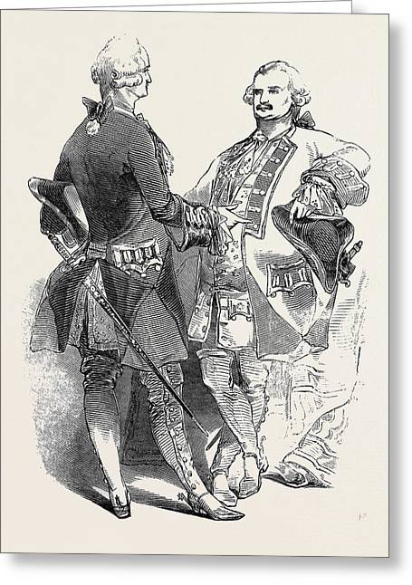Costumes Of Colonel Dawson Damer And The Prince Of Leiningen Greeting Card by English School