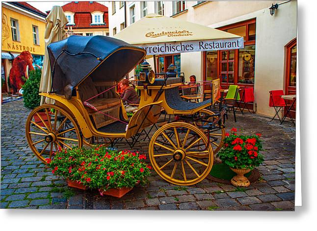 Cosy Restaurant Na Kampe. Prague Greeting Card by Jenny Rainbow