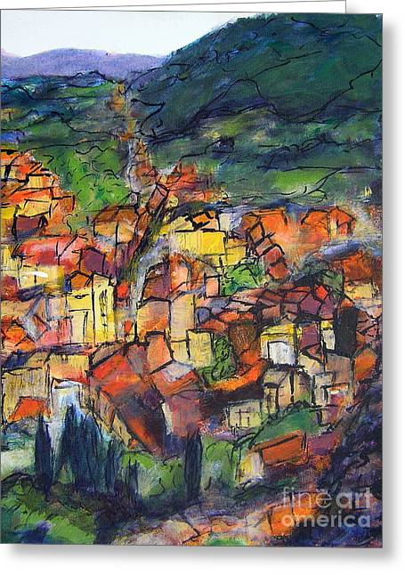 Cotignac Provence Greeting Card by Jackie Sherwood