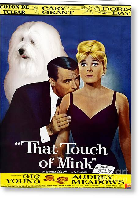 Coton De Tulear Art -that Touch Of Mink Movie Poster Greeting Card