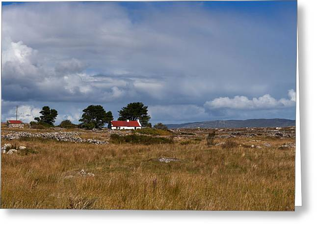 Cottage And Rocky Barren Landscape Greeting Card by Panoramic Images