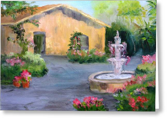 Cottage Courtyard Greeting Card