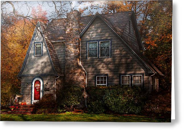 Cottage - Cranford Nj - Autumn Cottage  Greeting Card by Mike Savad