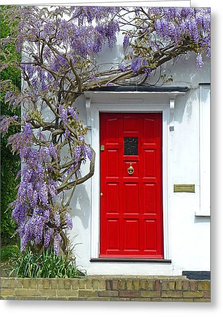 Cottage Door With Wisteria Greeting Card