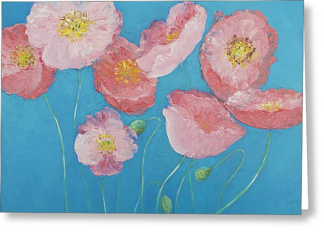Cottage Garden Poppies Greeting Card by Jan Matson